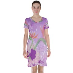 Wonderful Flowers On Soft Purple Background Short Sleeve Nightdresses
