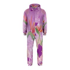 Wonderful Flowers On Soft Purple Background Hooded Jumpsuit (kids)
