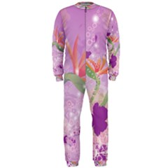 Wonderful Flowers On Soft Purple Background OnePiece Jumpsuit (Men)