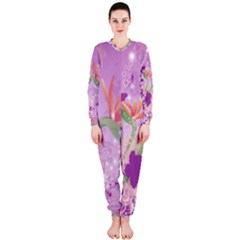 Wonderful Flowers On Soft Purple Background OnePiece Jumpsuit (Ladies)