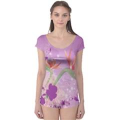 Wonderful Flowers On Soft Purple Background Short Sleeve Leotard