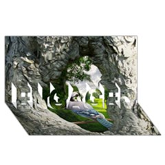 Bird In The Tree 2 Engaged 3d Greeting Card (8x4)