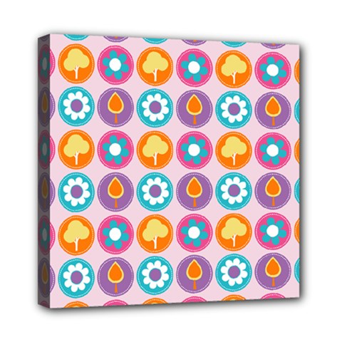 Chic Floral Pattern Mini Canvas 8  x 8