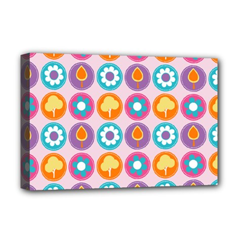 Chic Floral Pattern Deluxe Canvas 18  X 12