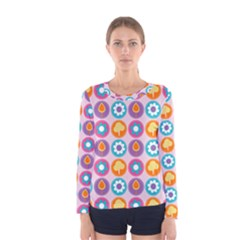 Chic Floral Pattern Women s Long Sleeve T Shirts