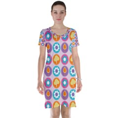 Chic Floral Pattern Short Sleeve Nightdresses