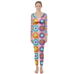 Chic Floral Pattern Long Sleeve Catsuit