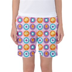 Chic Floral Pattern Women s Basketball Shorts