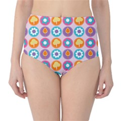 Chic Floral Pattern High-Waist Bikini Bottoms