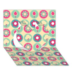 Chic Floral Pattern Heart 3D Greeting Card (7x5)