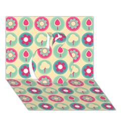 Chic Floral Pattern Apple 3D Greeting Card (7x5)