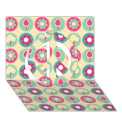 Chic Floral Pattern Peace Sign 3d Greeting Card (7x5)