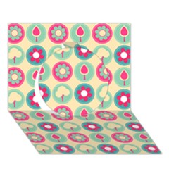 Chic Floral Pattern Circle 3d Greeting Card (7x5)