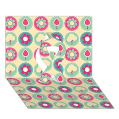 Chic Floral Pattern Ribbon 3d Greeting Card (7x5)