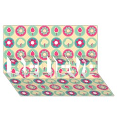 Chic Floral Pattern Believe 3d Greeting Card (8x4)