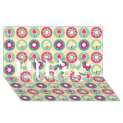Chic Floral Pattern Hugs 3d Greeting Card (8x4)
