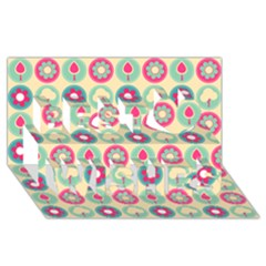 Chic Floral Pattern Best Wish 3D Greeting Card (8x4)