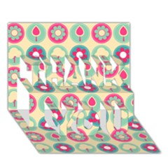 Chic Floral Pattern THANK YOU 3D Greeting Card (7x5)