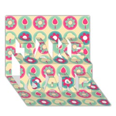 Chic Floral Pattern TAKE CARE 3D Greeting Card (7x5)