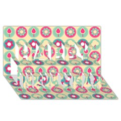 Chic Floral Pattern Happy New Year 3d Greeting Card (8x4)