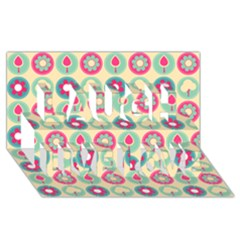 Chic Floral Pattern Laugh Live Love 3D Greeting Card (8x4)