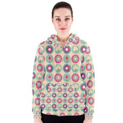 Chic Floral Pattern Women s Zipper Hoodies