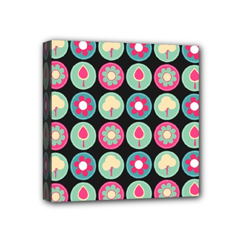 Chic Floral Pattern Mini Canvas 4  x 4