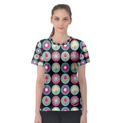 Chic Floral Pattern Women s Sport Mesh Tees