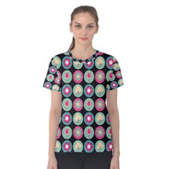 Chic Floral Pattern Women s Cotton Tees