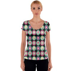 Chic Floral Pattern Women s V-Neck Cap Sleeve Top