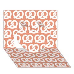 Salmon Pretzel Illustrations Pattern Heart 3D Greeting Card (7x5)
