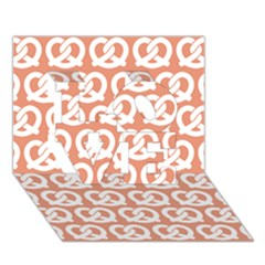 Salmon Pretzel Illustrations Pattern LOVE 3D Greeting Card (7x5)