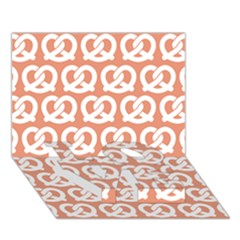 Salmon Pretzel Illustrations Pattern LOVE Bottom 3D Greeting Card (7x5)