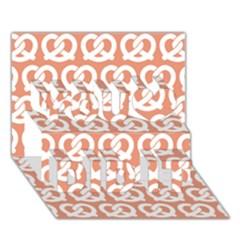 Salmon Pretzel Illustrations Pattern You Did It 3D Greeting Card (7x5)