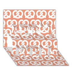 Salmon Pretzel Illustrations Pattern Get Well 3D Greeting Card (7x5)