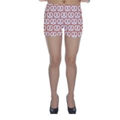 Salmon Pretzel Illustrations Pattern Skinny Shorts