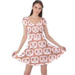 Salmon Pretzel Illustrations Pattern Cap Sleeve Dresses