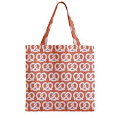 Salmon Pretzel Illustrations Pattern Zipper Grocery Tote Bags
