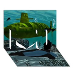 Submarine With Orca I Love You 3d Greeting Card (7x5)