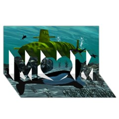 Submarine With Orca MOM 3D Greeting Card (8x4)