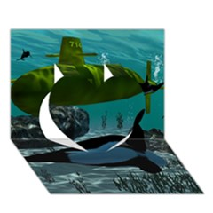 Submarine With Orca Heart 3D Greeting Card (7x5)