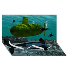 Submarine With Orca Twin Heart Bottom 3D Greeting Card (8x4)