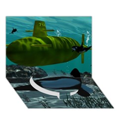 Submarine With Orca Circle Bottom 3d Greeting Card (7x5)