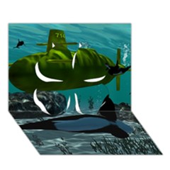 Submarine With Orca Clover 3D Greeting Card (7x5)