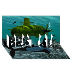 Submarine With Orca BEST SIS 3D Greeting Card (8x4)