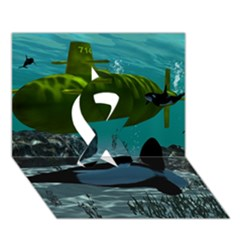 Submarine With Orca Ribbon 3D Greeting Card (7x5)