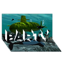 Submarine With Orca PARTY 3D Greeting Card (8x4)