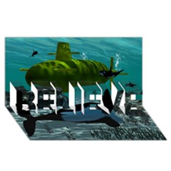 Submarine With Orca Believe 3d Greeting Card (8x4)