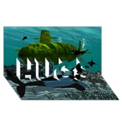 Submarine With Orca Hugs 3d Greeting Card (8x4)
