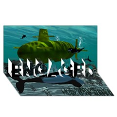 Submarine With Orca ENGAGED 3D Greeting Card (8x4)